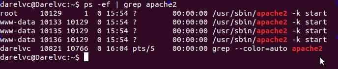 ps -ef | grep apache2